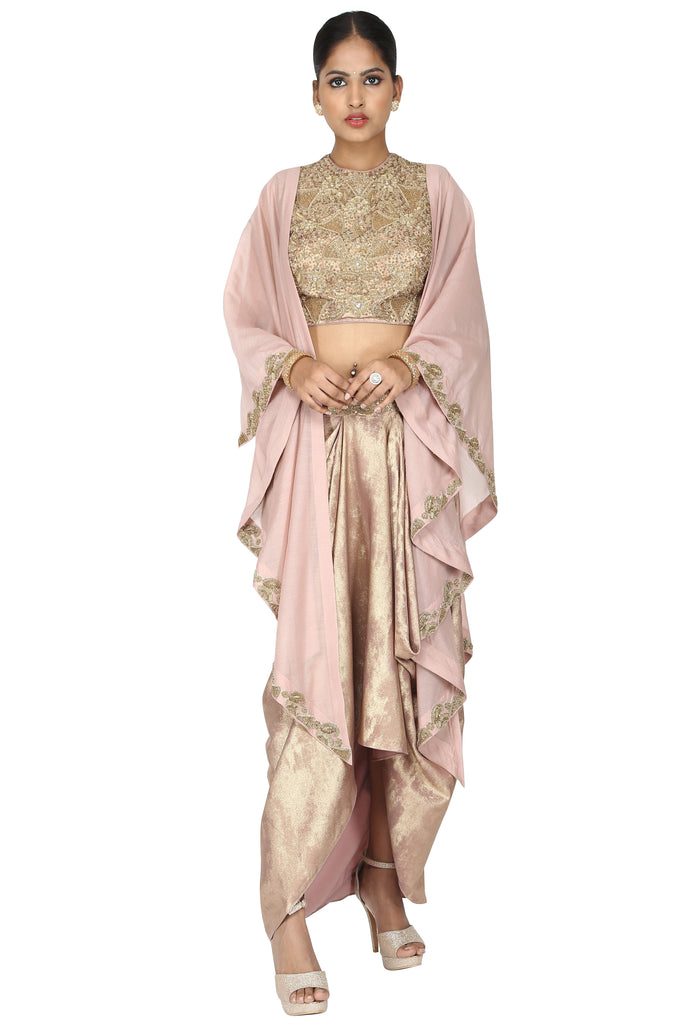 Rose gold concept drape with cape