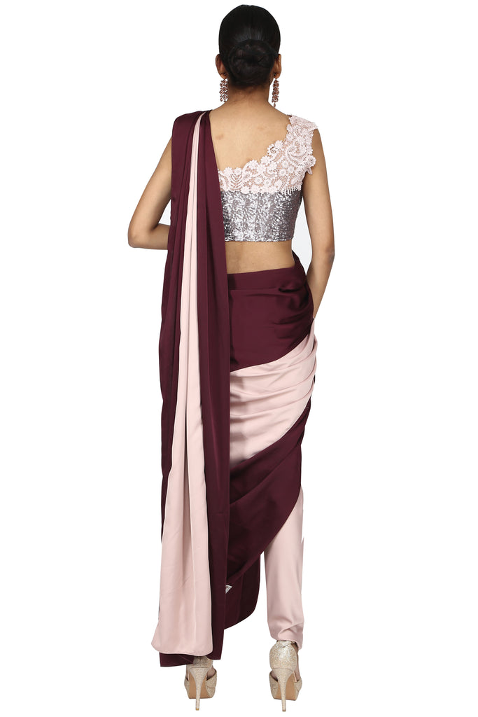 Blush Pink & Wine Pre-Stitched Saree.