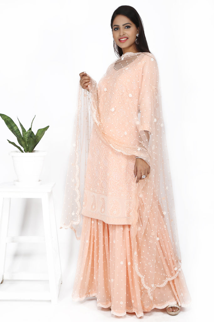 Rose blush pink sharara set