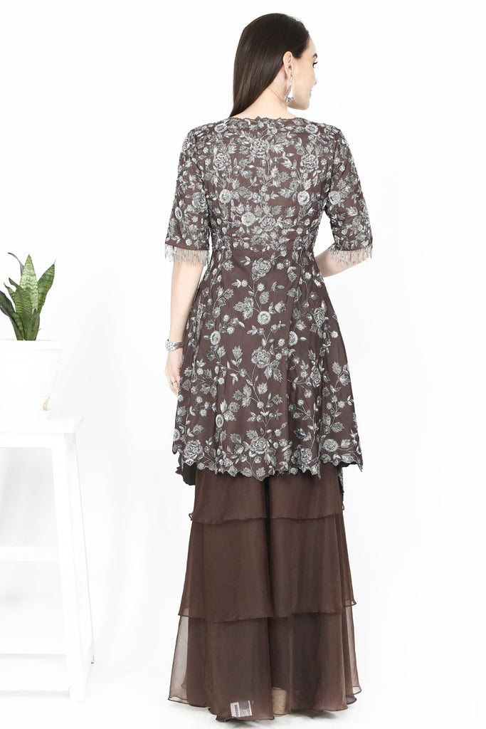 Walnut brown sharara set