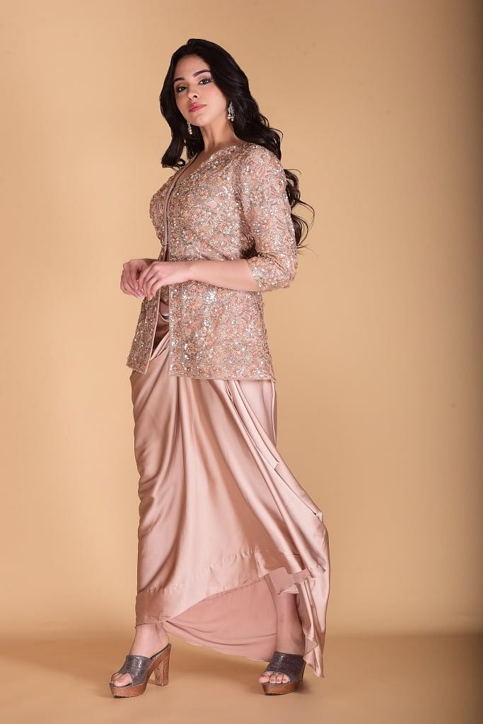 Golden Beige Cape and Dhoti