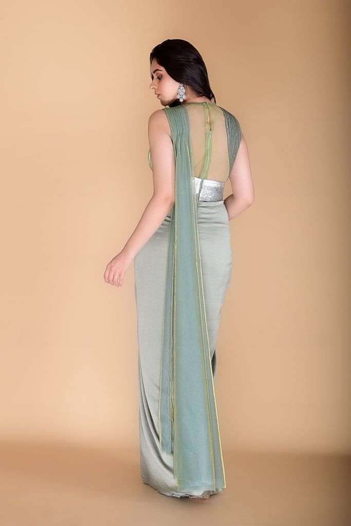 Grey-Shimmer Green Drape