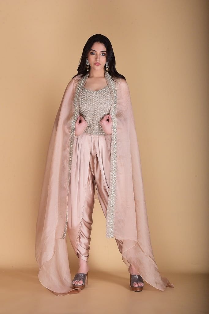 Light golden Crop top with Cape and Dhoti set.