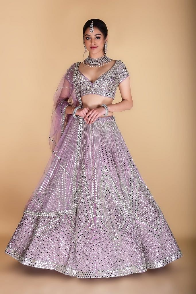 Lilac Embroidered Lehenga set.