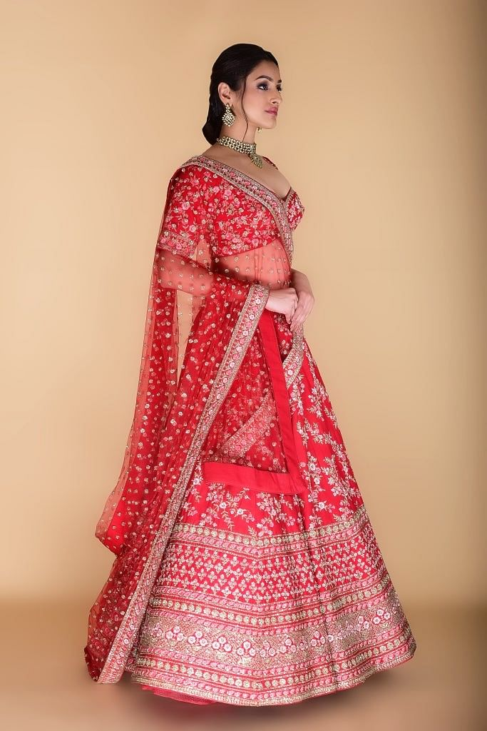 Vermilion Red Embroidered Lehenga Set.