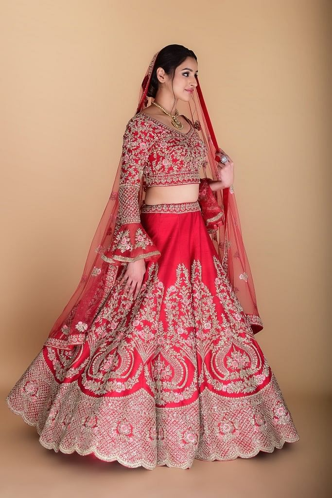 Scarlet Red Embroidered Lehenga set.
