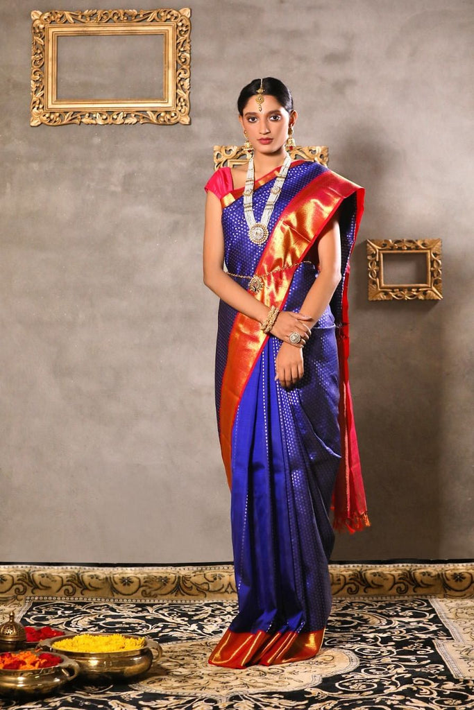 Royal blue Kanjeevaram silk saree.