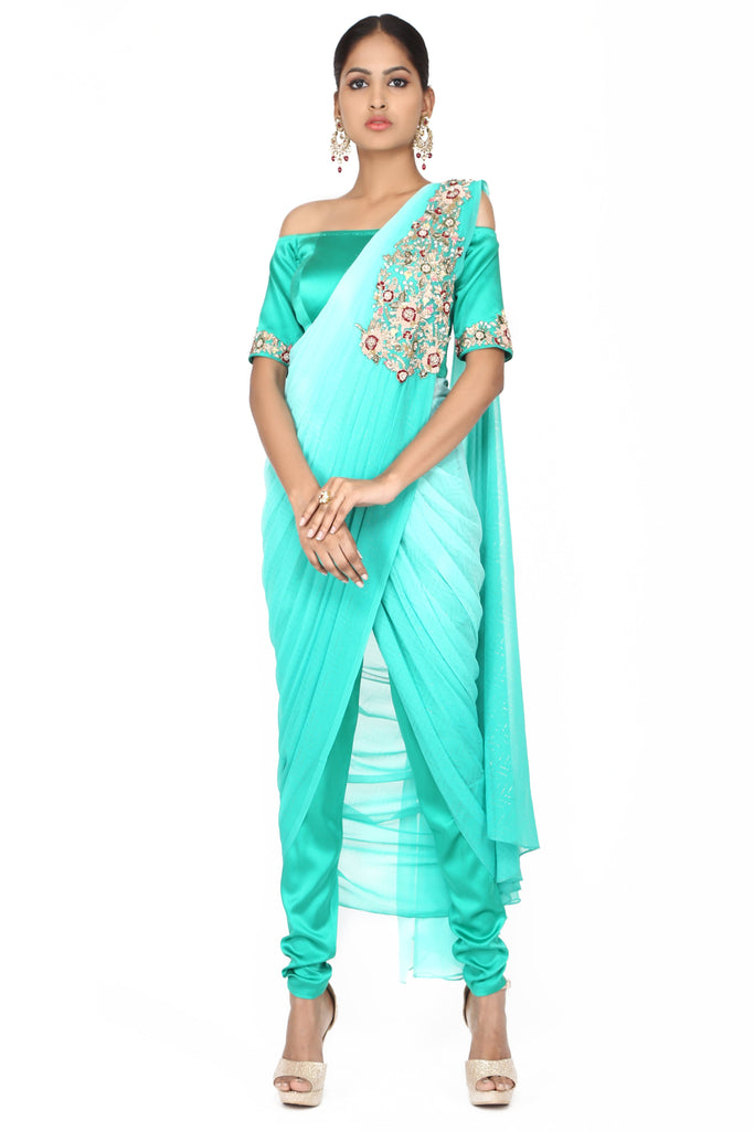 Turquoise blue ombre off-shoulder drape saree