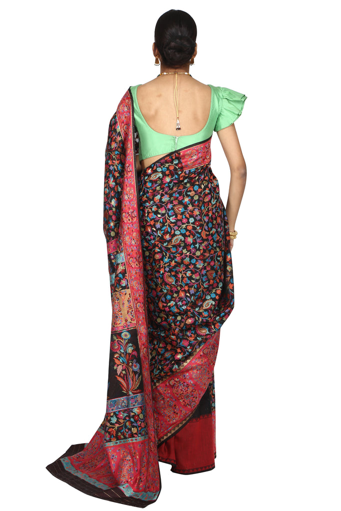 Persian flora handloom saree with blouse piece
