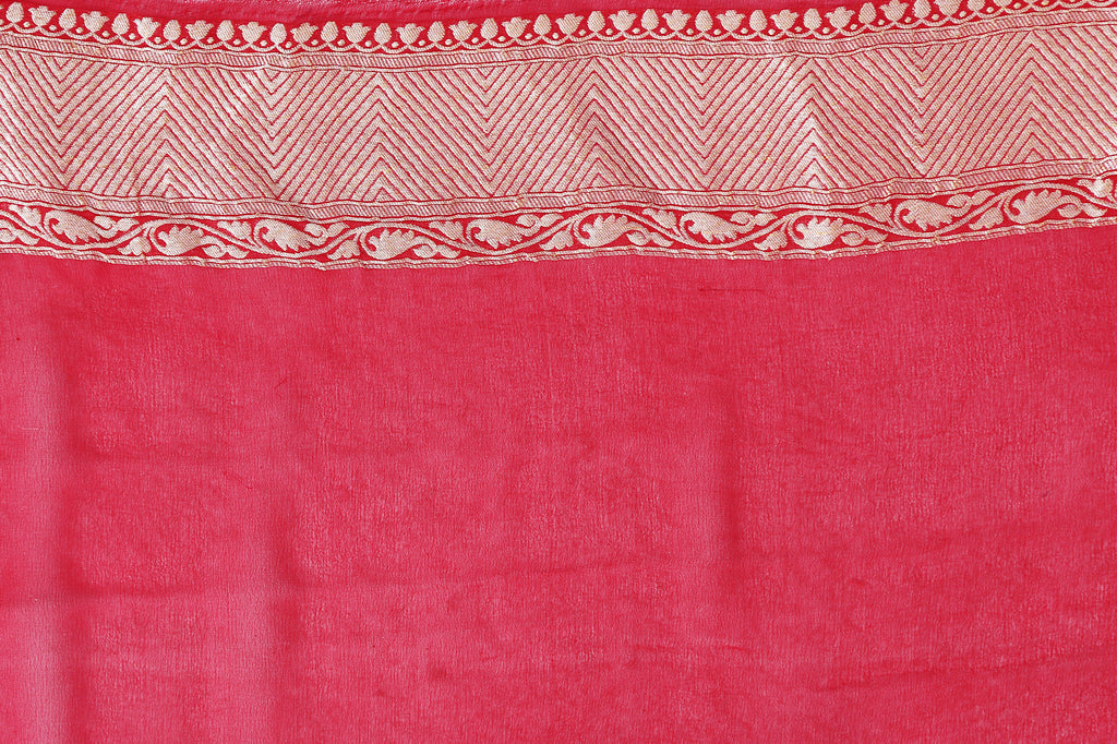 Vermilion red and golden stripe saree with blouse