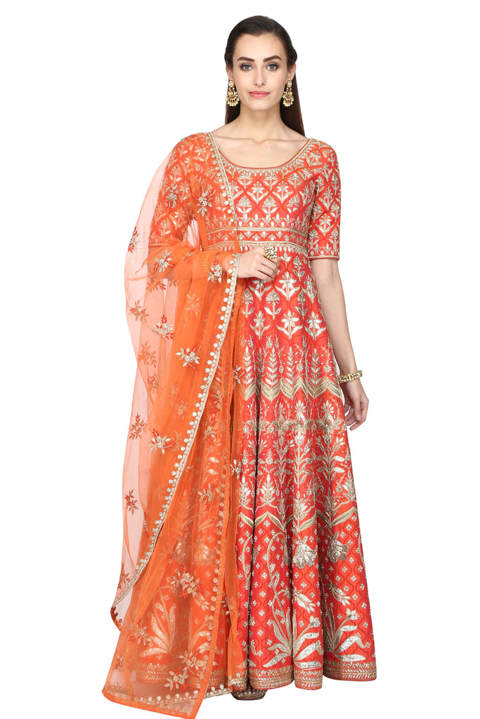 Tangerine anarkali with dupatta set.