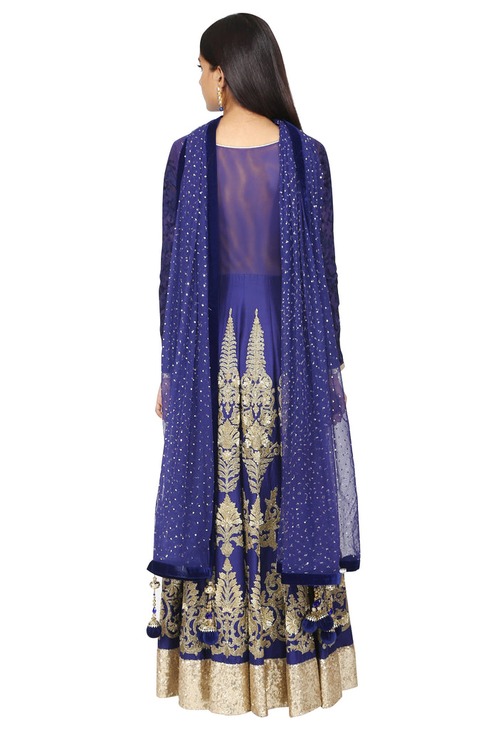 Mid-night blue anarkali with dupatta set.