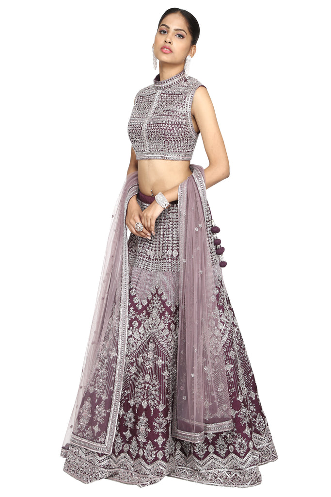 Deep purple lehenga set.