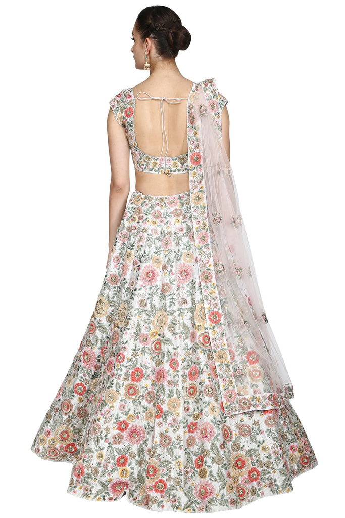 Pure white lehenga set.