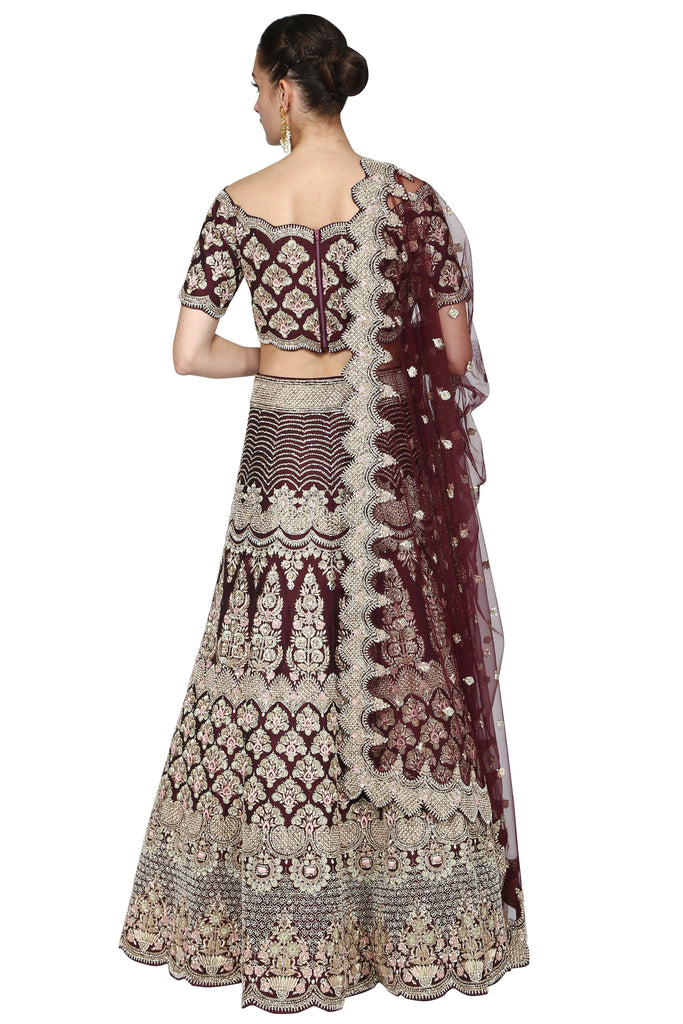 Dark brown lehenga set.