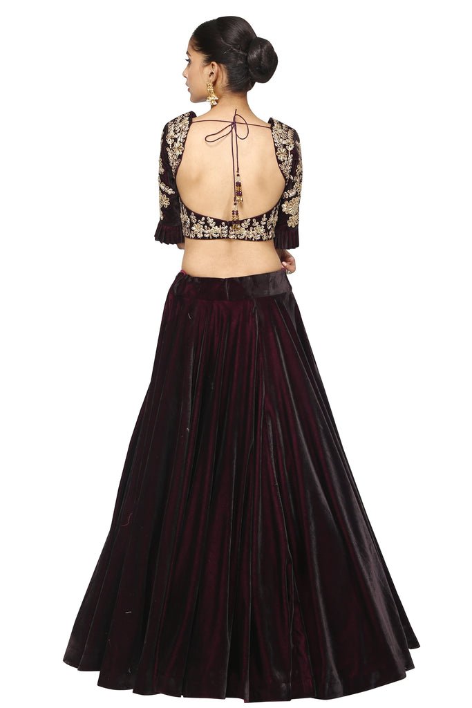 Dark brown crop top and long skirt