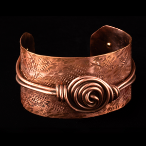 Copper Cuff  Texture Stamped with Rosette