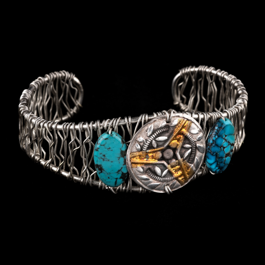 Pure Silver Medallion with Turquoise Cuff