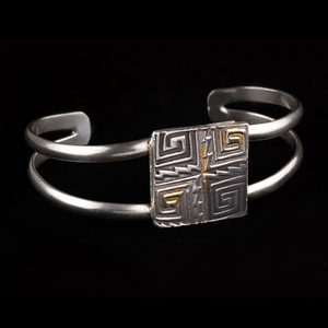 Silver Cuff with Square Geometric Pattern