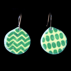 Earrings Bright Green patterened