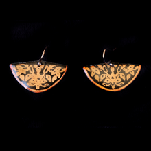 Load image into Gallery viewer, Earrings Half Circle Etched Copper