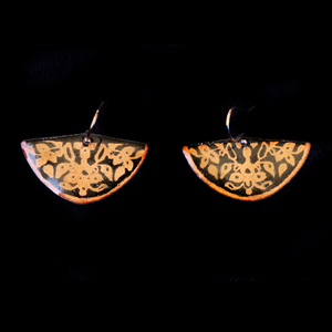 Earrings Half Circle Etched Copper