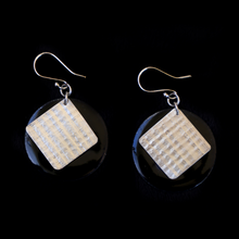 Load image into Gallery viewer, Earrings Enameled Black With Textured Sterling Silver 2 Sided