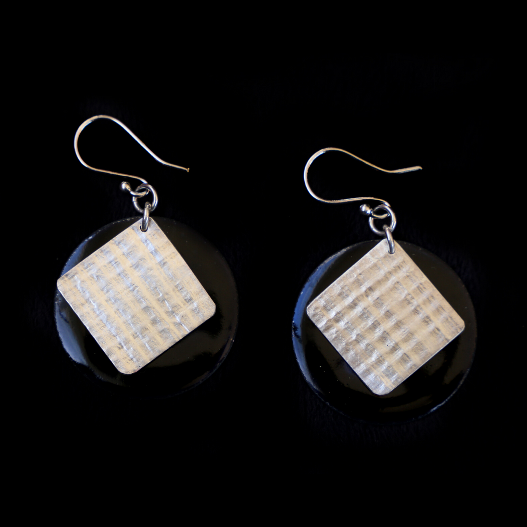 Earrings Enameled Black With Textured Sterling Silver 2 Sided
