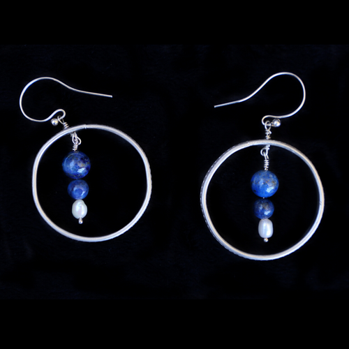 Earring Hoops Blue Lapis And pearls