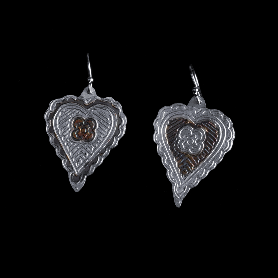 Etched Hearts Sterling Silver Earrings