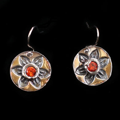 Classical Indian Floral Earrings with Hessonite Garnet