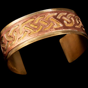 Cuff copper on brass Celtic