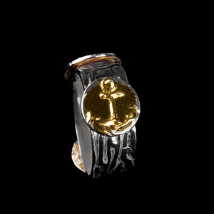 Ring Nautical theme pure silver/ 24K Gold foil