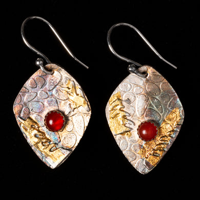 Pure Silver Earrings With Carnelian Stone