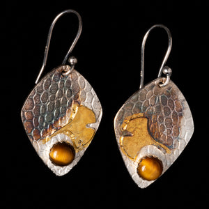 Tiger Eye Earrings With Gingko Leaf Pattern And Pebble Texture