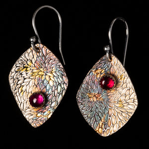 Ruby Floral Earrings With Chrysanthemum Pattern