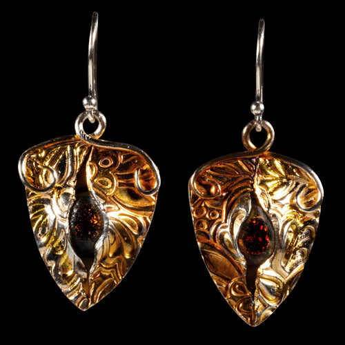 Earrings pure silver/ 24K Gold foil with red dichroic glass