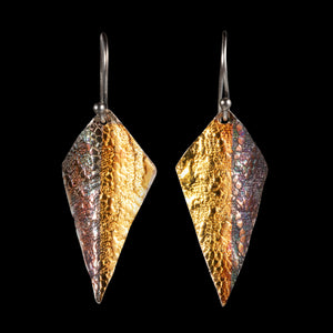 Earrings kite shaped pure textured silver/ 24K gold foil