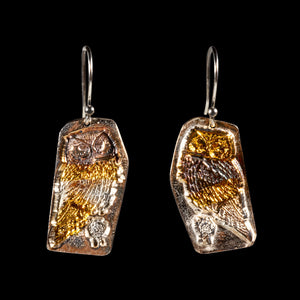 Owl earrings pure silver/ 24K gold foil