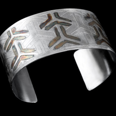 Etched Sterling silver cuff with Japanese pattern
