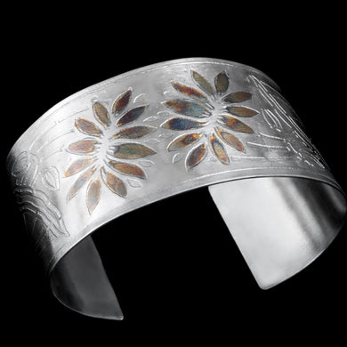 Etched sterling silver floral pattern cuff/ patina