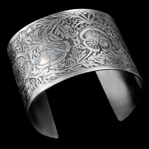 Etched sterling silver cuff floral pattern
