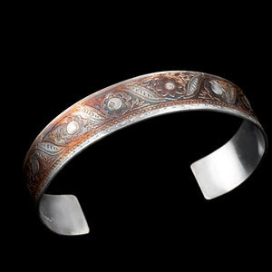Etched sterling silver narrow cuff/ patina