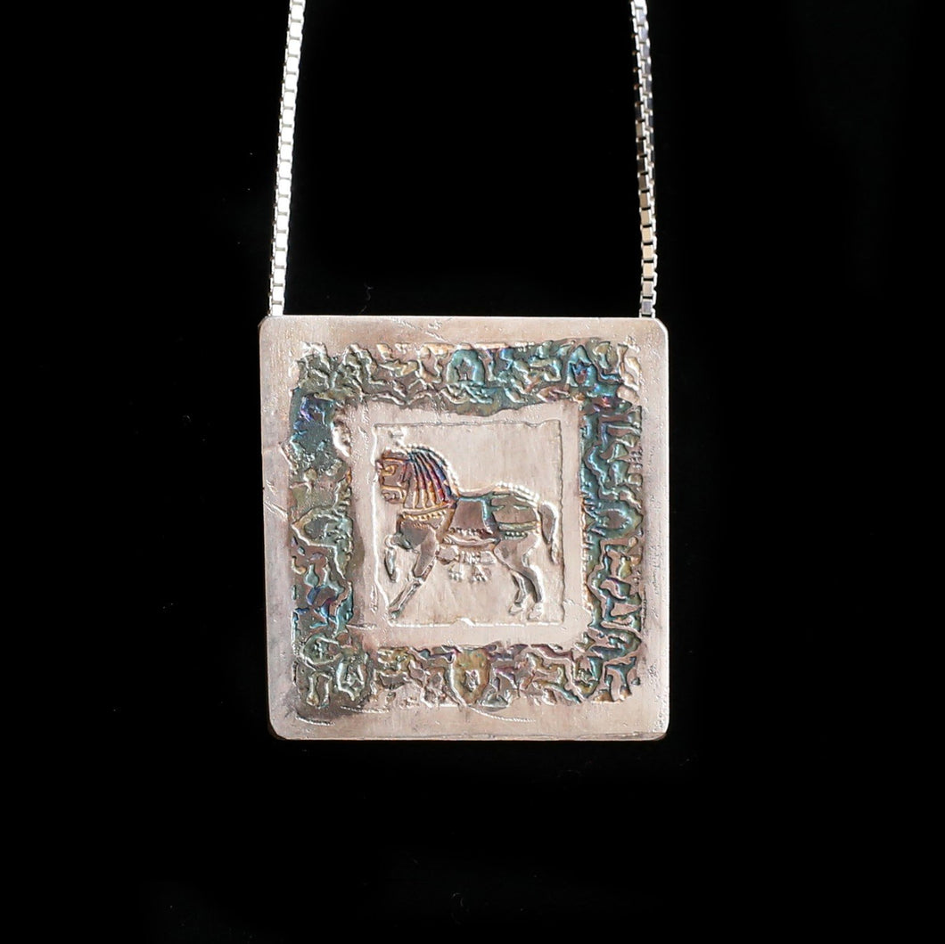 Etched Silver Horse Pendant