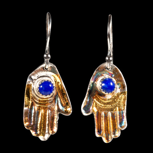 Hamza earrings pure silver/ 24K Gold foil/ lapis