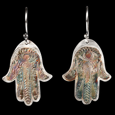 Hamza pattern sterling silver etched earrings