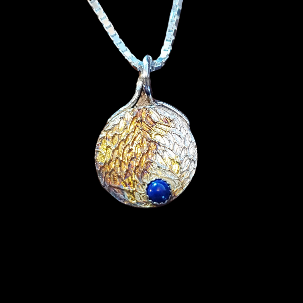 Petite Silver Gold Pendant with Lapis Stone 2 sided