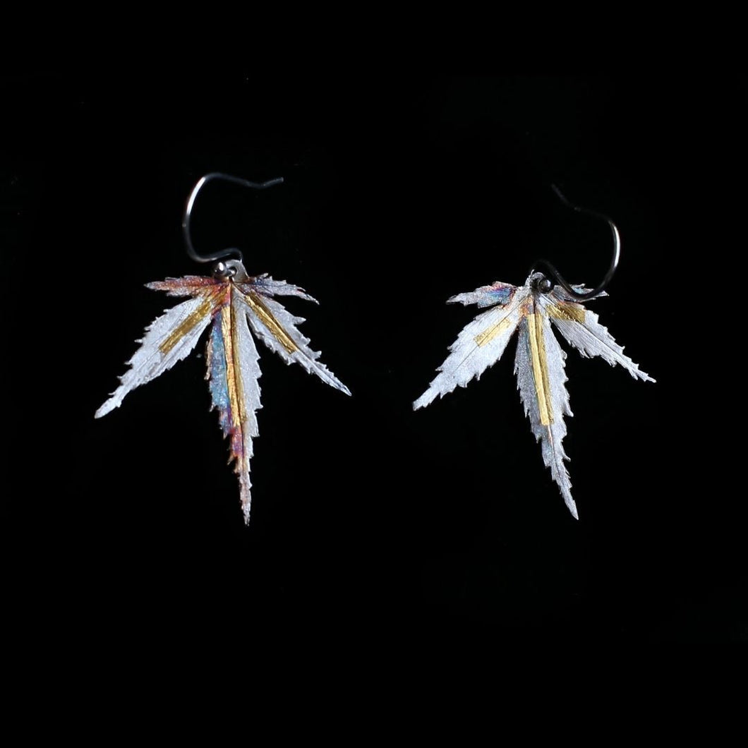 Japanese Maple Leaf Earrings Silver Gold