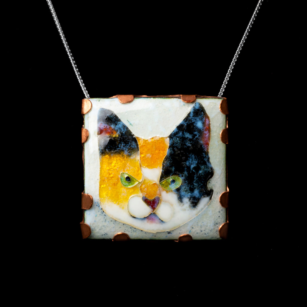 Cloisonne cat in copper frame pendant