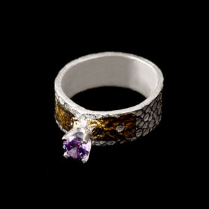 Amethyst Ring Pure Silver with 24K Gold Foil